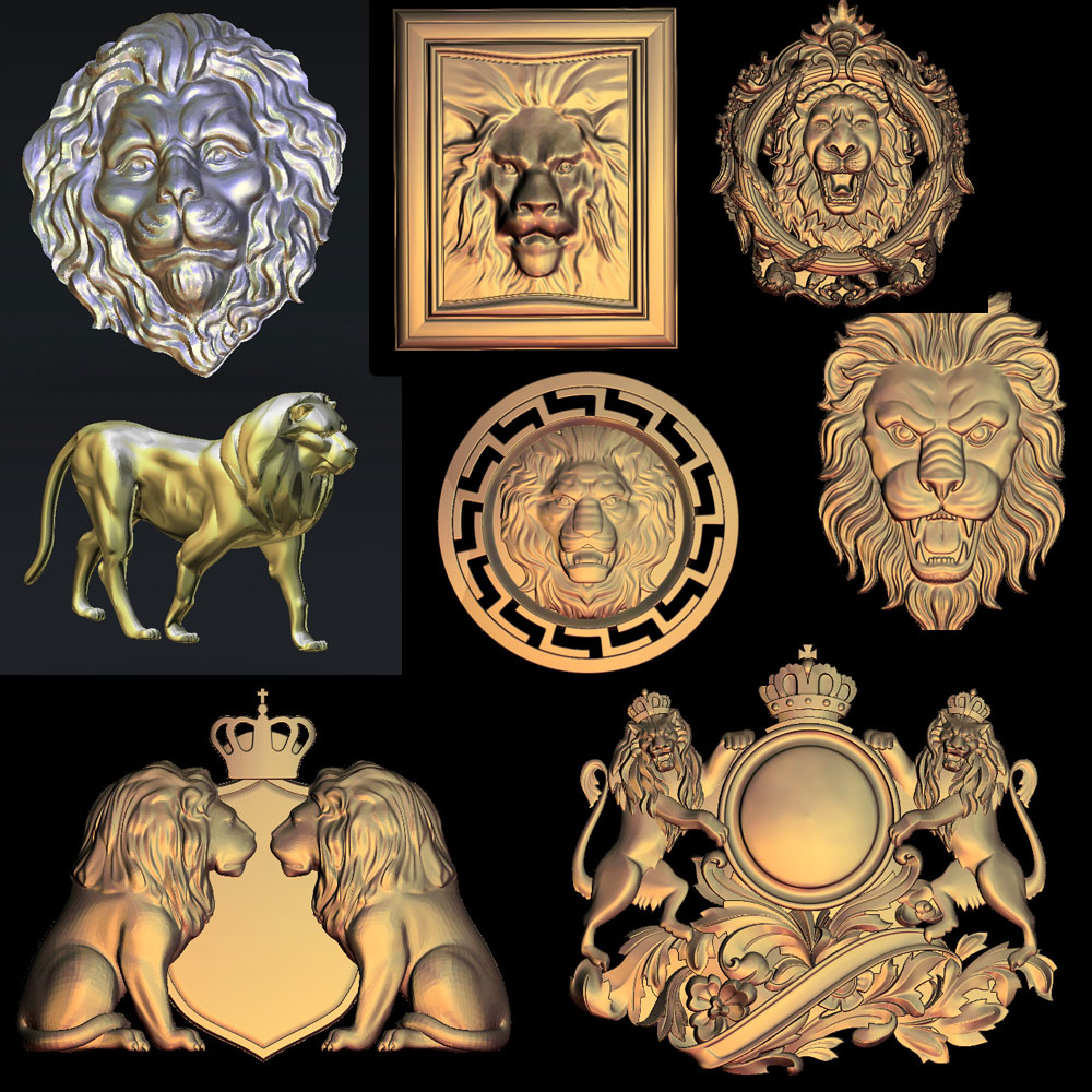 (14 Models) 3d Lions Relief Sculpture Model CNC 3 Axis 4 Axis Router Milling Engrave STL Files