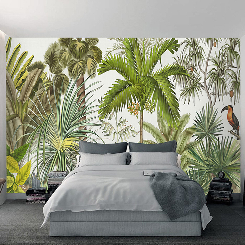 3D Wall Mural Wallpaper Tropical Plant Green Coconut Trees Woodpecker Backdrop Wall Paper Restaurant Living Room Papel De Parede