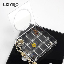 LIXYMO square box with round mirror jewelry Organizer Storage Display Stand Case Rack Holder store acrylic clear