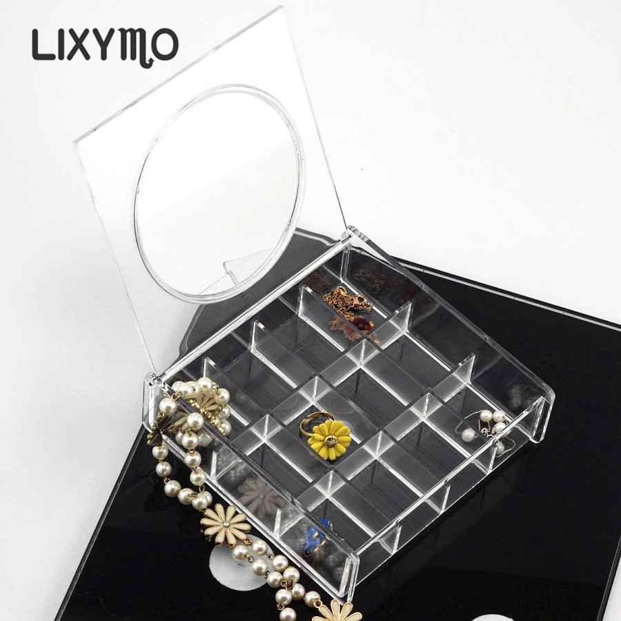 LIXYMO square box with round mirror jewelry Organizer Storage Display Stand Case Rack Holder store acrylic clear ...
