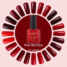 Hot Sale Healthy and Eco-friendly12Colors Wine Red Series Gel Nail Polish Soak Off Gel Lucky UV Nail Varnish Gouserva