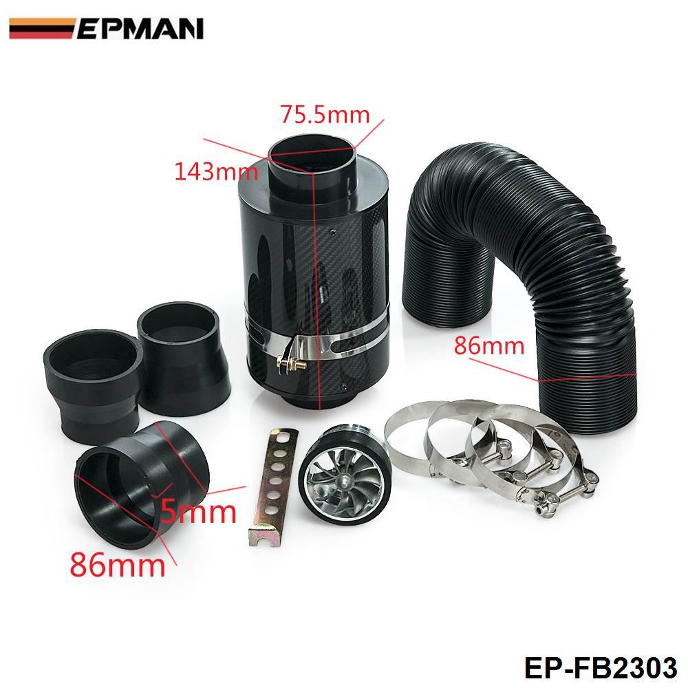 Универсальный холодной поток индукции комплект& Carbon Fiber воздушного фильтра с вентилятором для BMW E46 M3/330/328/325 M52 EP-FB2303