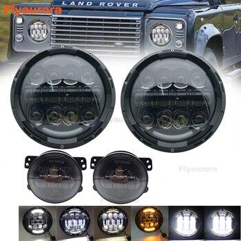 "7 Inch 80W H4 LED Headlights & led fog light Fog Lamp 7"" Round Headlamp For Lada 4x4 Urban Niva Land Rover 90/110 Defender"