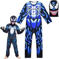 New Child Black Spiderman Kids Boys Bodysuits Venom Movie Character Cosplay Superhero Halloween Carnival Fancy Dress Up Costume