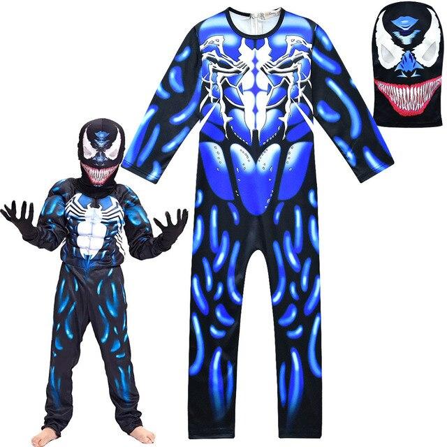 Nova Criança Preto Venom Spiderman Crianças Meninos Bodysuits Personagem do Filme Cosplay de Super-heróis do Dia Das Bruxas Carnaval Fancy Dress Up Costume