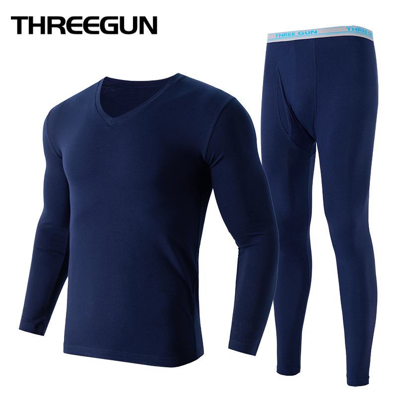 THREEGUN Lycra Undershirts Man Long Johns V- Neck Thermal Underwear Sets Fashion Waistband Male Winter Bottoms Warm Black