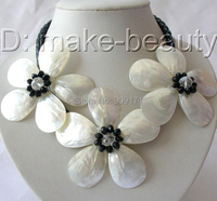 Free Shipping>>>stunning big handmade baroque white shell pearl flower leather necklace