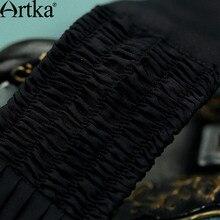 Artka Women's 2017 Summer Emerald Series Silk Dress Vintage Lantern Sleeve Empire Waist Wide Hem Dress With Sashes LA14453X