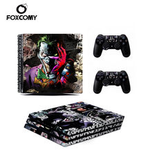 3D terreur Joker décalcomanie Console peau couverture pour Playstation 4 Pro Console PS4 Pro peau autocollants contrôleur LED de protection(China)