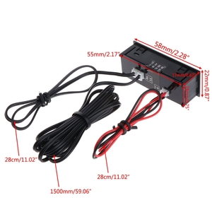 OOTDTY DIY Многофункциональные Высокоточные Часы внутри и снаружи автомобиля температура батарея Напряжение монитор Панель метр DC 12v