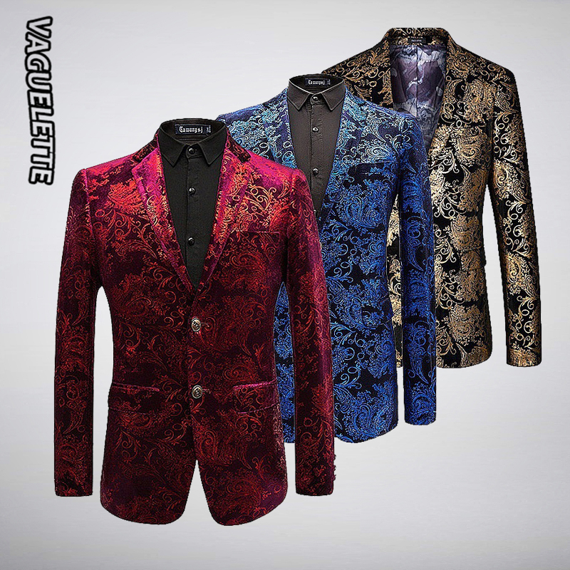 Blazer de velours de luxe hommes Paisley vestes florales manteau rouge/or/bleu Blazer pour hommes élégant mariage hommes Blazer vêtements de scène M-6XL