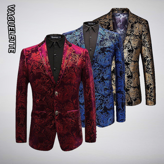 6fef5f7a5 De Lujo Blazer de terciopelo hombres Paisley Floral chaquetas abrigo rojo oro Blazer  azul