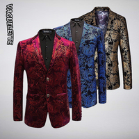 Luxury Velvet Pattern Blazer Men Paisley Floral Jackets Wine Red/Gold/Blue Men's Stage Jacket Elegant Wedding Men's Blazer M 6XL