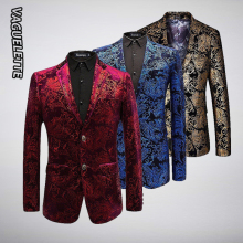 Velvet Silver Blazer Men Paisley Floral Jackets Wine Red Golden Stage Suit Jacket Elegant Wedding Men's Blazer Plus Size M-6XL
