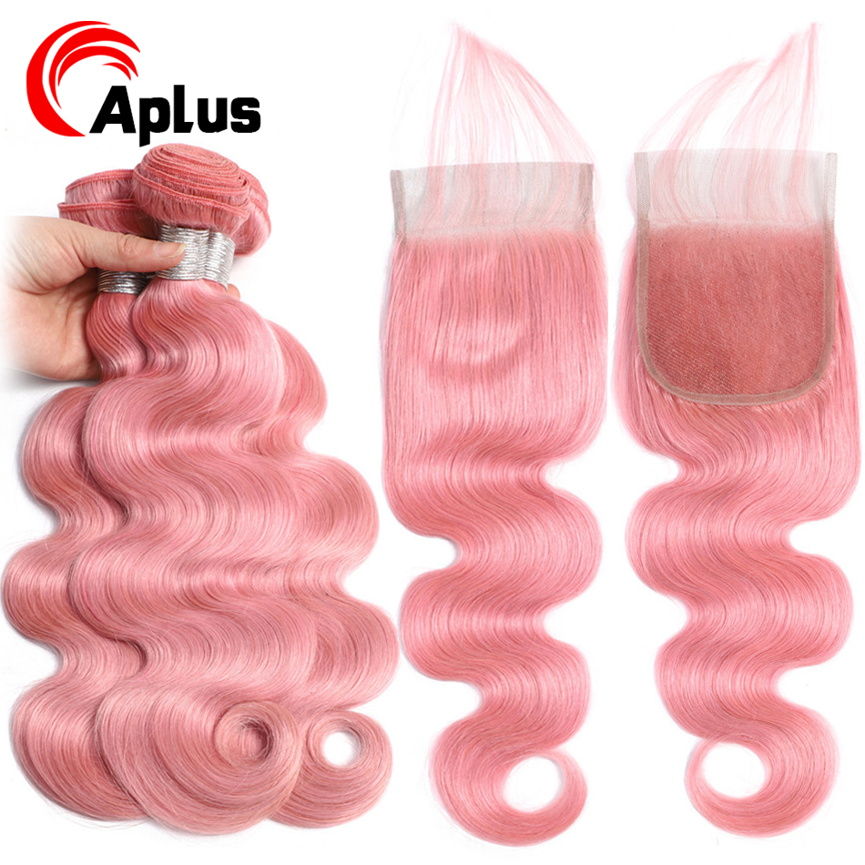 Aplus Body Wave Hair Pink Bundles With Closure Pre Colored Peruvian Pink Human Hair Bundles With Closure With Baby Hair Remy