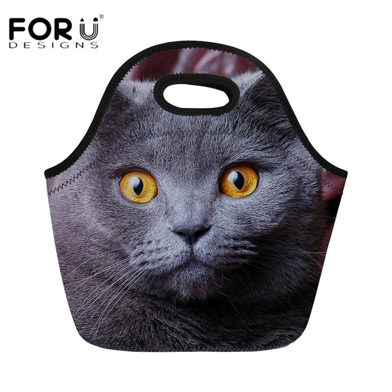 Térmico de Alimentos de Grande Case de Armazenamento de Frutas para as Crianças Forudesigns Bonito Animais Isolados Almoço Bolsa Capacidade Viajar Piquenique 3d Cat