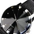 Marca de lujo 2016 Negro Relojes de Acero Inoxidable Correa de Los Hombres de Moda Reloj de pulsera de Cuarzo Horas Hombres Mujeres Relojes de Vestir