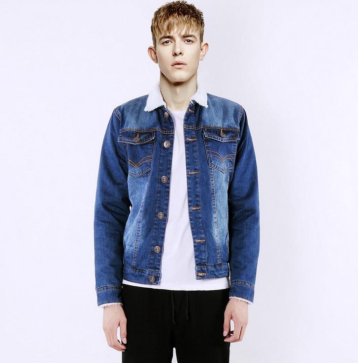 2016 Men jean jacket High quality 100% cotton Plus Velvet Men denim coat Autumn Jackets Casual Mens Vintage Jeans Jacket