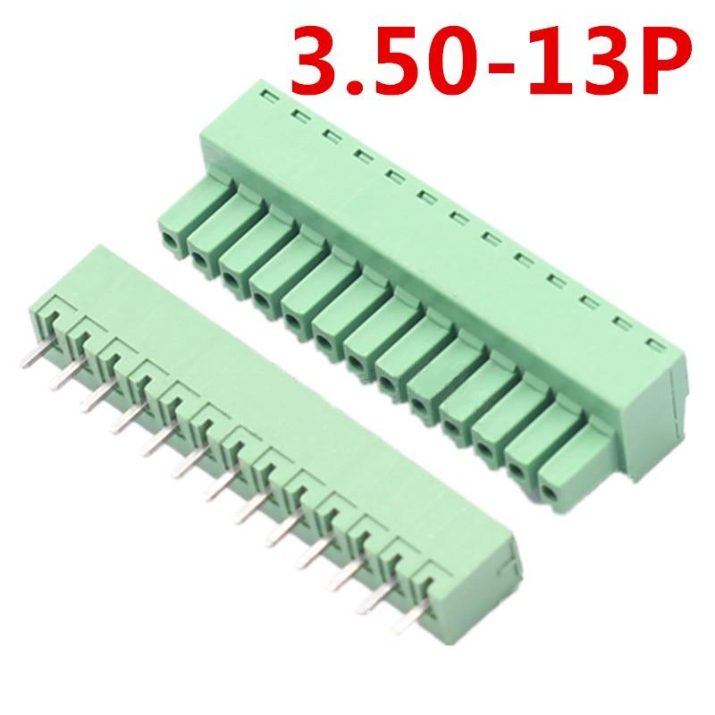 10 комплектов 13 контактный печатной платы Электрические 15EDG-3.5mm шаг Универсальный прямой разъем типа зеленый клеммный блок пиновый разъем и ...