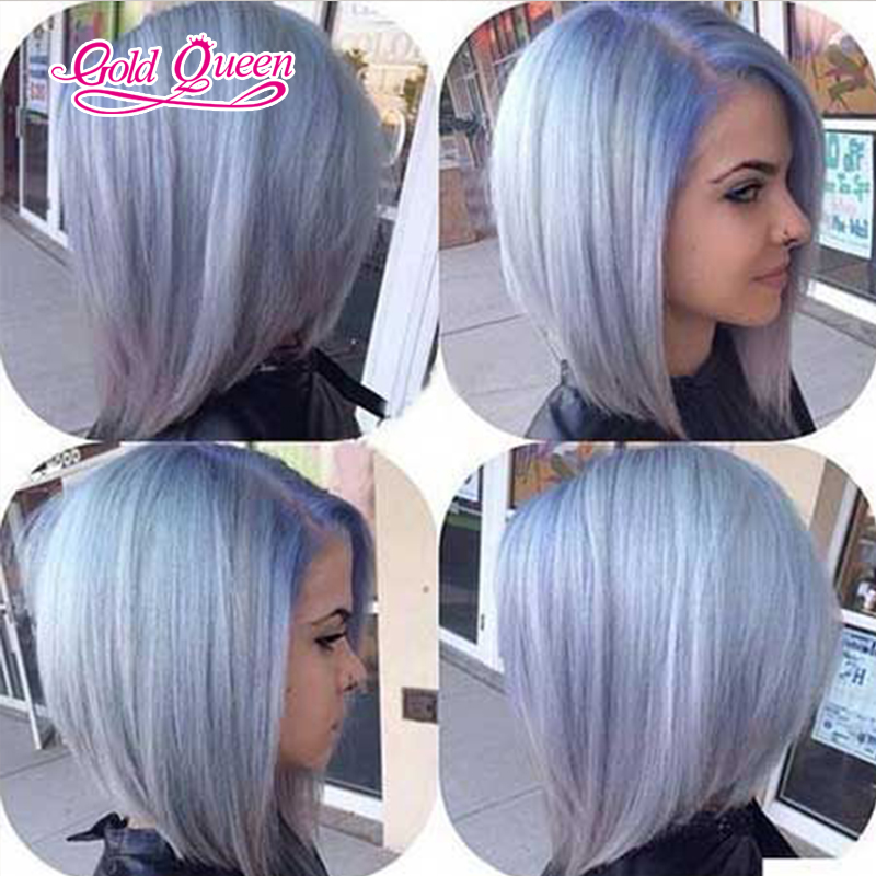 Whole Blue Purple Wig Side Part Short Bob Human Hair Lace Wigs Custom Made Glueless 12 16inch 150 Density In