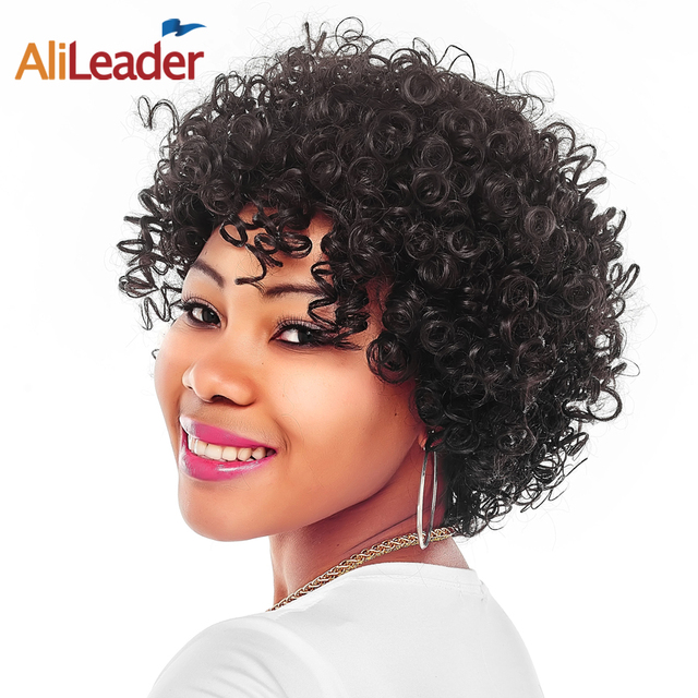 Alileader Middle Age Women S Short Wigs Natural Black Small Bouncy