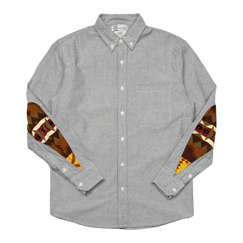Falection 2017 ss Paccbet Visvim Japan Patchworks Oxford Plain font b Shirt b font font b