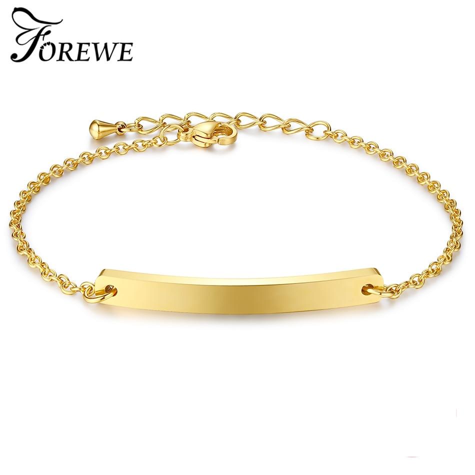 FOREWE personnalisé nom Bracelet couleur or personnalisé nom bracelets pour femme hommes en acier inoxydable bijoux (Max 20 lettres)