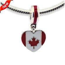 Se adapta a pandora charms pulsera corazón de la bandera de canadá de plata cuelga charm 925 plata esterlina motorcraft fandola para la fabricación de joyas