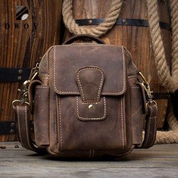 Crazy Horse Genuine Leather Men Bag Male Vintage Small Shoulder Messenger Bags Crossbody Bags Messenger Bag Men Leather