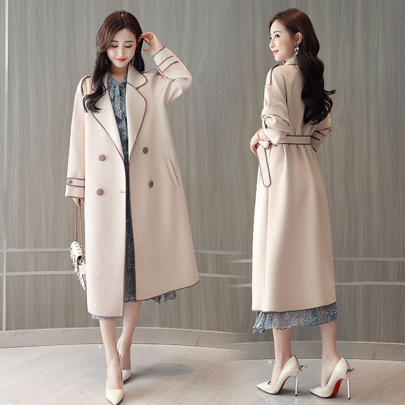 New fashion Autumn Winter british style Overcoat Women Long slim Solid Turn-Down Collar Trench Femme double breasted Outwear