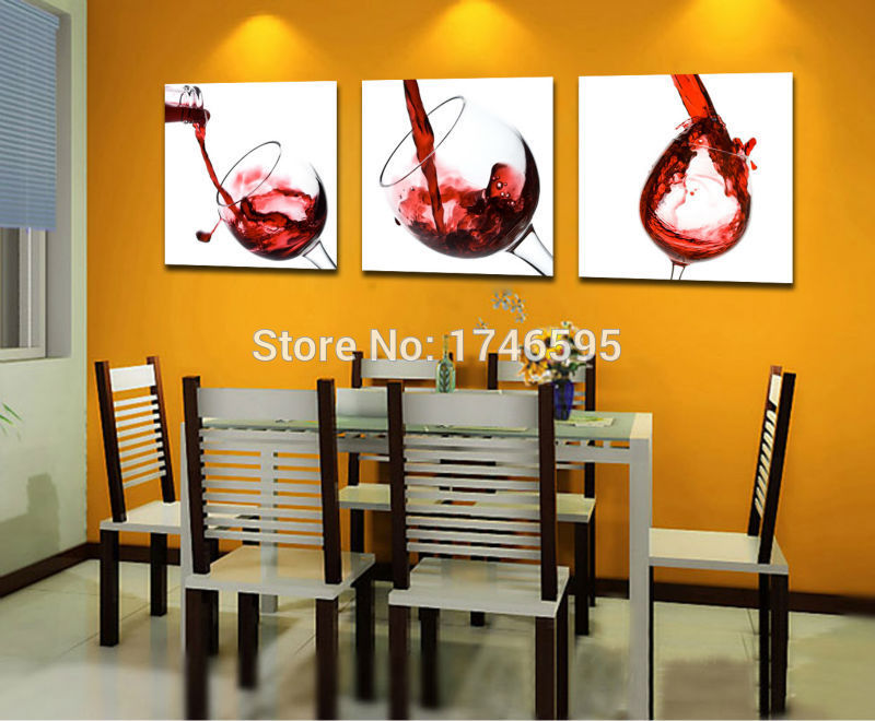 Big 3pcs modern home decor RED WINE GLASS Wall Art picture dining ...