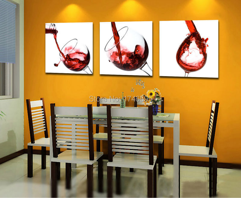 Big 3pcs Modern Home Decor Red Wine Glass Wall Art Picture Dining Room Bar Coffee House
