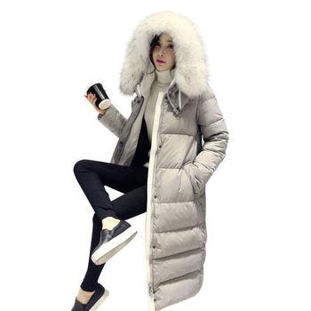 Maxi Coats Thicken Winter Jacket Women 2019 Fur Collar Over Knee Long Winter Jacket Parka Warm Cotton Coat Chaqueta Mujer C2601