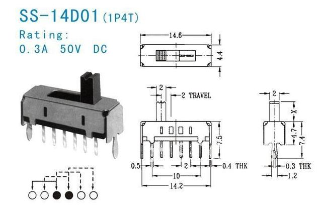 30pcs per lot Slide Switch 1P4T Rohs 6pin toggle switch slide switch on 6 pin slide switch wiring diagram, 6 pin tact switch wiring diagram, 6 pin tactile switch wiring diagram,