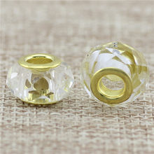 2 style golden Glass white and Black Bead Round Shape DIY Big Hole Pandora beads Murano Bead Charm Fit For Charms Bracelet(China)
