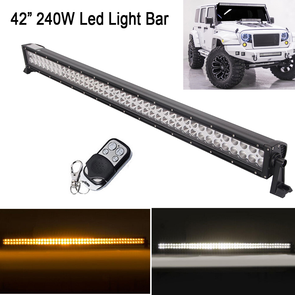 White/Amber 42 240W Stroboflash Led Straight Work Light Bar White/Green ;White/Red Blue for OFFROAD ATV SUV JEEP TRUCK 4X4 4WD white