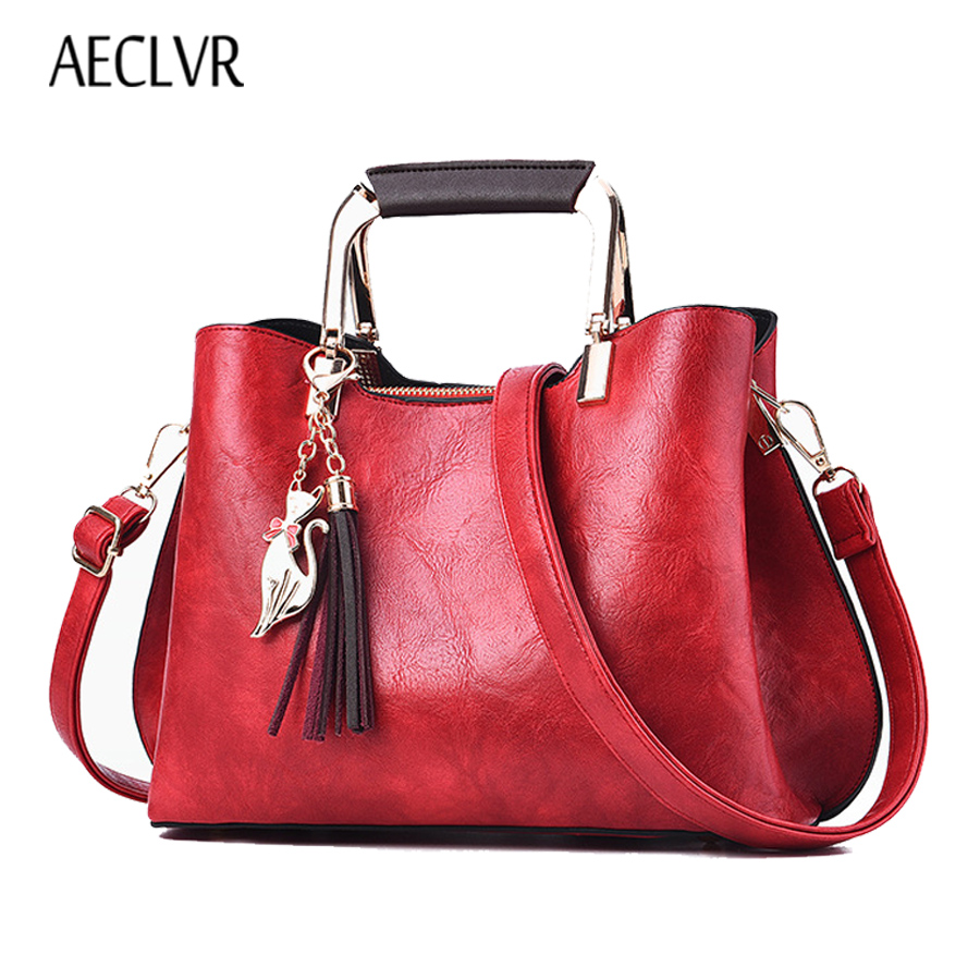 70710f83d5d2 AECLVR высокое качество Для женщин кожаные сумочки Винтаж кисточкой Для  женщин блестками сумки на плечо Однотонная