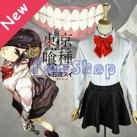 Tokyo Ghoul Kirishima Touka Cosplay Shirt+Skirt+Tie Uniform Suit Full Set Halloween Costumes Size S M L XL Free Shipping