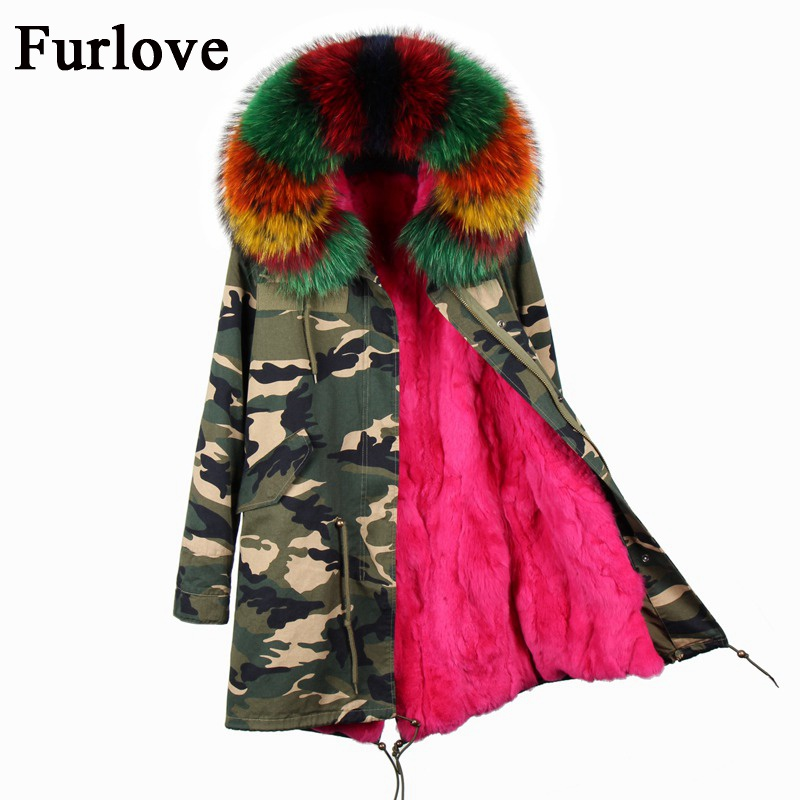 Winter jacket women coats vintage casual parka real raccoon fur collar hooded natural rabbit fur liner parkas thick warm coat printed long raccoon fur collar coat women winter real rabbit fur liner hooded jacket women bomber parka female ladies fp896