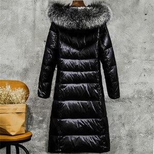 Image 3 - الشتاء النساء Thicked أسفل معطف حجم كبير سيدة رمادي بطة أسفل سترة حجم كبير الفراء مقنع معاطف صامد للريح جاكيتات ملابس خارجية WZ626