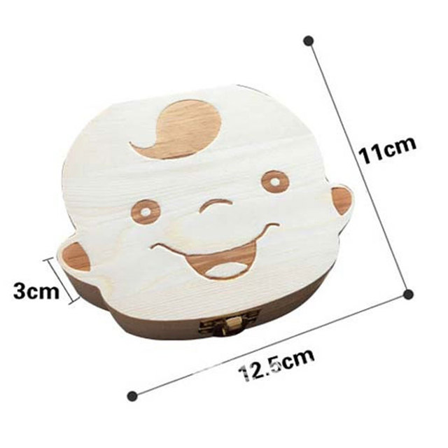 New Baby Milk Teeth Box Spanish/English Baby Wooden Tooth Box Baby Tooth Organizer for Kids Deciduous Storage Box Gift Creative
