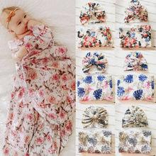 Детская одежда для сна, хлопковое мягкое одеяло для пеленания девочек и новорожденных, комплект из 2 предметов: одеяло для сна+ шапочка с оборками