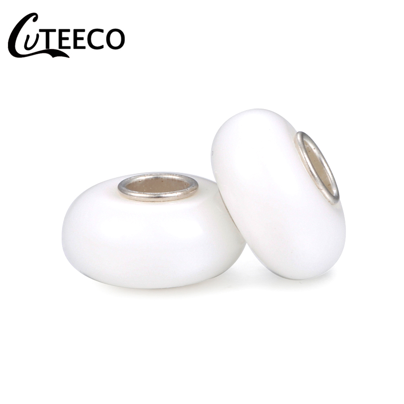CUTEECO DIY Charms Beads European Round Imitation Pearl Resin Fit Pandora Bracelet Bangle For Women Jewelry Accessories