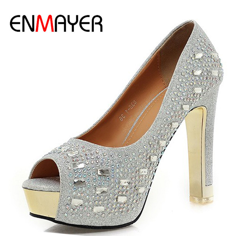 ФОТО ENMAYER Red gold silver women pumps Peep Toe Round Toe shoes women Square heel Rhinestone shoes pumps Party Fashion Slip-On