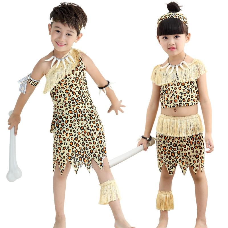 WohltäTig Kinder Savage Caveman Kostüme Jungen Leopard Feuerstein Afrikanische Tribal Hunter Indische Kleidung Für Mädchen