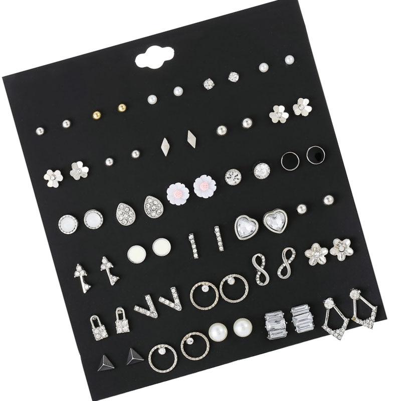 30 Pairs/set Vintage Silver Alloy Crystal Rhinestone Small Earrings For Women Cute Metal Resin Flower Stud Earrings Set  Mixed