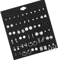 30 paare/satz Vintage Silber Legierung Kristall Strass Kleine Ohrringe Für Frauen Nette Metall Harz Blume Stud Ohrringe Set Gemischt