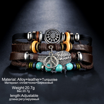 IF ME Design Turkish Eye Leather Bracelet For Men Woman Multiple Layer Feather Bracelet Fashion Wristband Party Jewelry Gift 4