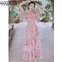 2019 Summer Women Printed dress Sexy stand collar Female Party Clothes Fashion Ruffles A line Dress