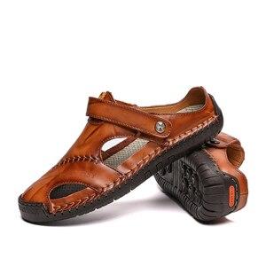 Image 4 - ZUNYU yeni Casual erkek yumuşak sandalet rahat erkek yaz deri sandalet erkekler roma yaz açık plaj sandaletleri büyük boy 38 48